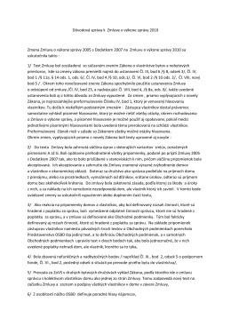 Dôvodová správa k Zmluve o výkone správy 2010 Zmena Zmluvy o