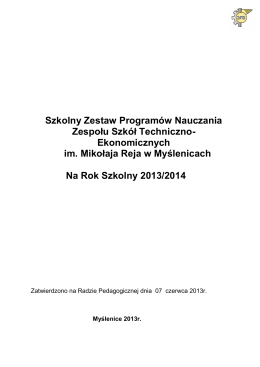 Ramowe programy nauczania 2014-2015