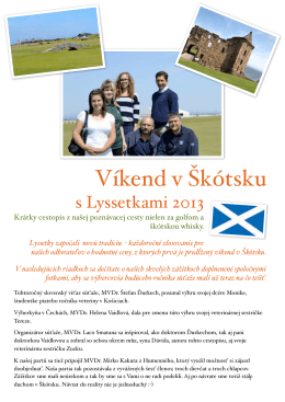 Cestopis z prvého zájazdu do Škótska 2013