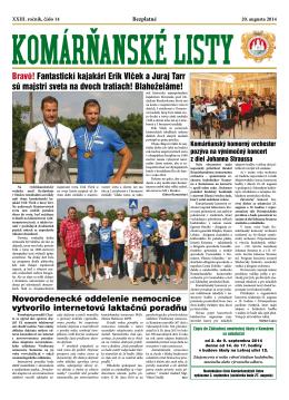 Komárňanské listy 14/2014 - Mestská televízia Komárno