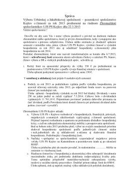Správa výboru za rok 2013
