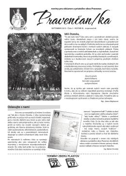 Pravenčanka NOVINY - číslo 3/2010