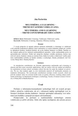 Ján Pavlovkin MULTIMÉDIA A E
