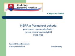 NSRR a Partnerská dohoda