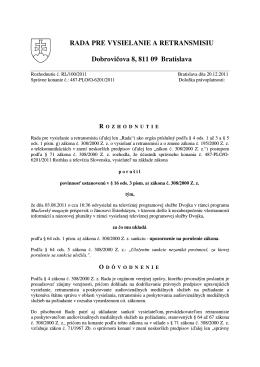 RL/100/2011 - Rada pre vysielanie a retransmisiu