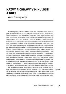 Názvy RichNavy v miNulosti a dNes Ivan Chalupecký