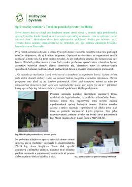 Správcovský seminár v Trenčíne ponúkol priestor na dialóg