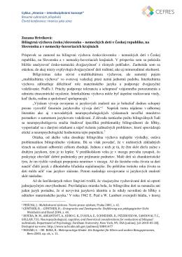 Bilingvná výchova česko/slovensko – nemeckých detí v