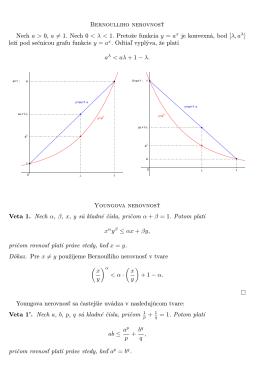 Bernoulliho nerovnosť Nech a > 0, a = 1. Nech 0 Pretože