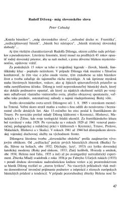 "Rudolf Dilong- mág slovenského slova Peter Cabadaj ""Knieža"