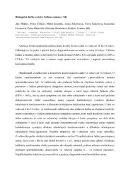 Biologická liečba u detí s ťažkou astmou v SR. Ján Mikler