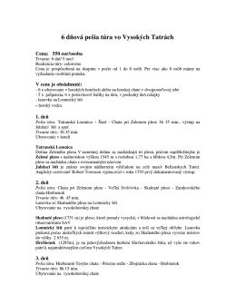 6 dňová pešia túra vo Vysokých Tatrách