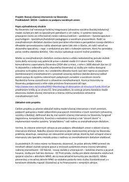 Základný projekt Rozvoj včasnej intervencie na Slovensku