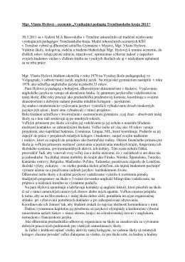 """Mgr. Vlasta Hyžová – ocenenie """"Vynikajúci pedagóg"""