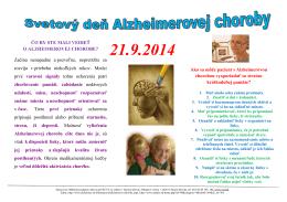 ČO BY STE MALI VEDIEŤ O ALZHEIMEROVEJ CHOROBE