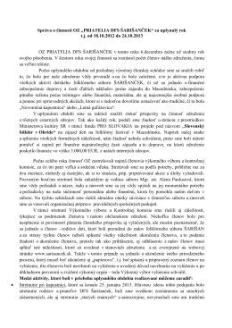 Správa o činnosti za obdobie od 18.10.2012 do 24.10
