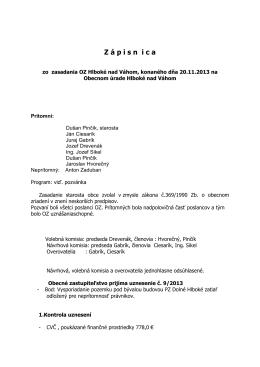 Zápisnica zo zasadnutia OZ dňa 20.11.2013