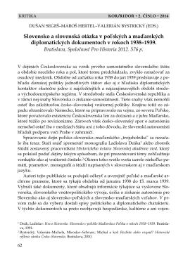 slovensko a slovenská otázka v poľských a maďarských