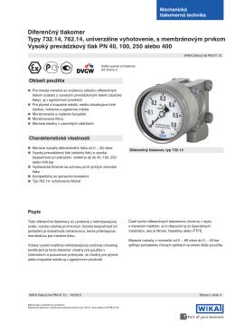 Diferenčný tlakomer Typy 732.14, 762.14, univerzálne