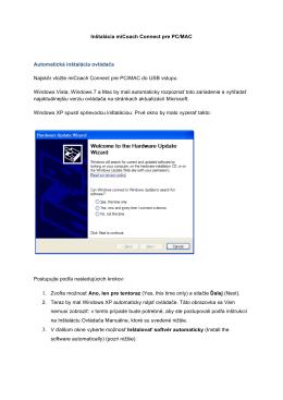 Inštalácia miCoach Connect pre PC/MAC Automatická inštalácia