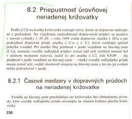 8.2 Priepustnost urovnovej neriadenej krizovatky