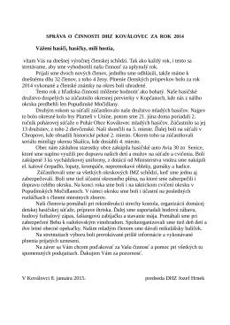 Správa o činnosti DHZ za rok 2014