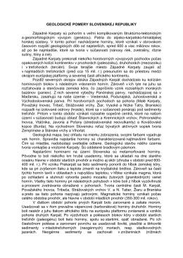 GEOLOGICKÉ POMERY SLOVENSKEJ REPUBLIKY Západné