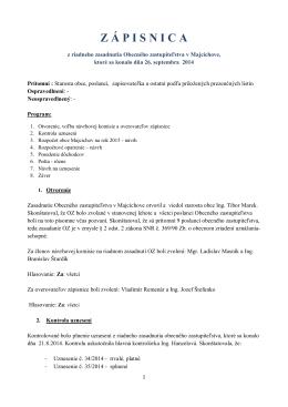 Zápisnica z riadneho zasadnutia OZ 26.9.2014