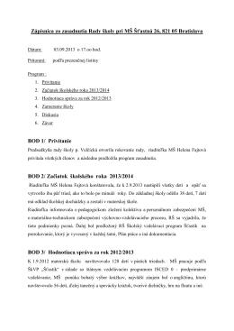 Zápisnica zo zasadunutia 3.9.2013