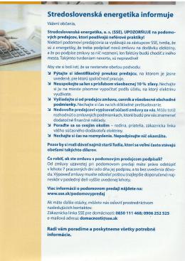 Upozornenie SSE a.s. na podomových predajcov energií