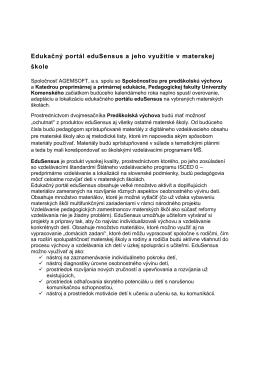 Edukačný portál eduSensus a jeho využitie v materskej