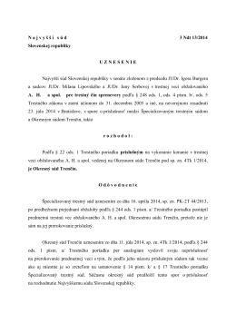 N a j v y š š í s ú d 3 Ndt 13/2014 Slovenskej