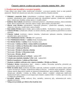 Výpis vykonaných činností vo volebnom období 2010