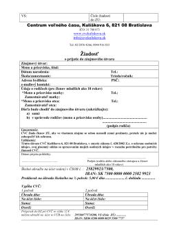 Žiadosť o prijatie do ZÚ 2014/2015