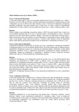 Tovar z Nemecka do Španielska 1. Slovenský platiteľ dane A