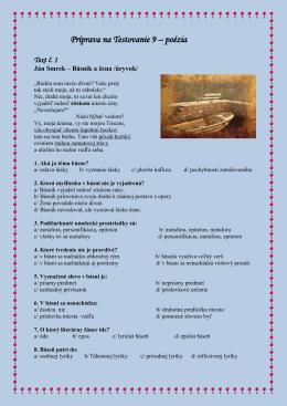 Príprava na Testovanie 9 – poézia Text č. 1
