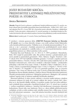 JOZEF BUDAVÁRY-KRIČKA: PREDSTAVITEĽ LATINSKEJ