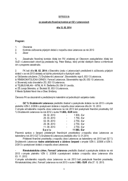 Správa finančnej komisie (12.02.2014)