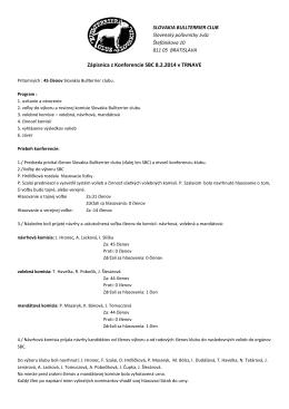 Zápisnica z Konferencie SBC 8.2.2014 v TRNAVE