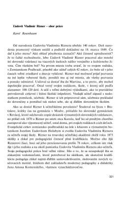 Ľudovít Vladimír Rizner - obor práce Karol Rosenbaum Od