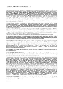 Licenčné podmienky užitia programu Zoner Callisto 5 FREE