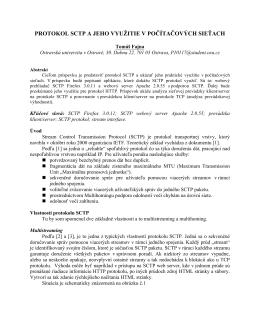 protokol sctp a jeho využitie v počítačových sieťach