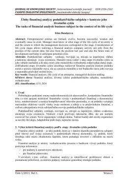 Úlohy finančnej analýzy podnikateľského subjektu v kontexte jeho