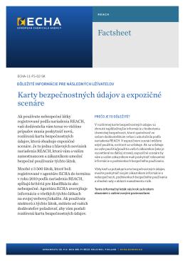 Factsheet Karty bezpečnostných údajov a - ECHA