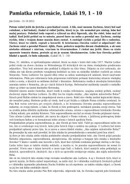 Kázeň 31.10.2012 - Pamiatka reformácie, Lukáš 19, 1 – 10