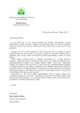 List predsedu predstavenstva - Združenie agropodnikateľov