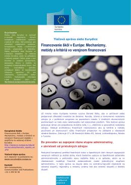 Financovanie škôl v Európe: Mechanizmy - EACEA
