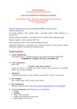 Formát príspevkov: - Fakulta podnikového manažmentu