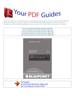 Návod na používanie BLAUPUNKT BUENOS AIRES 200