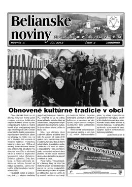 Belianske noviny ročník II. číslo 1 z 7/2012